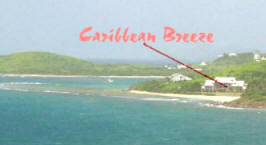 View of Caribbean Breeze and the North Shore of St. Croix