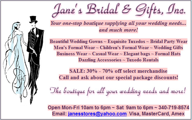 Jane's Bridal and Gifts- St. Croix Weddings
