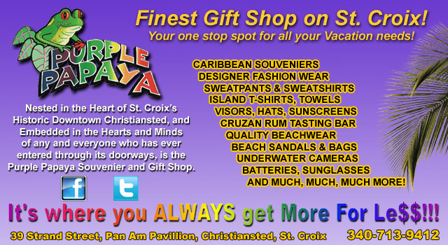 Purple Papaya Souvenir and Gift Shop located in Christiansted, St Croix