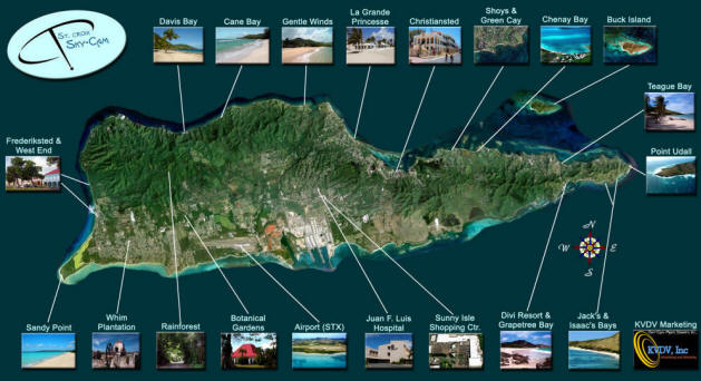 St. Croix Map - US Virgin Islands Maps - Aerial views of St. Croix