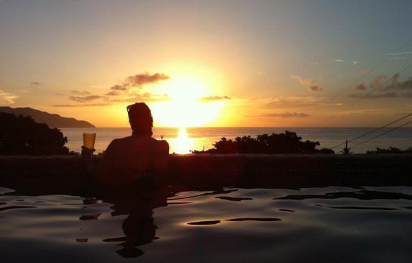 Sunset from the pool at Villa Dawn on St. Croix