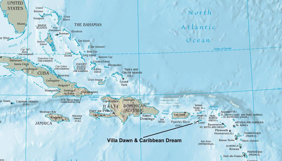 Map Of The Caribbean Islands And St Croix US Virgin